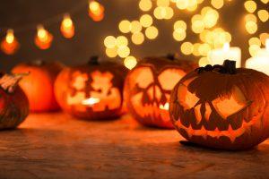 Halloween pumpkins cut in shape of face